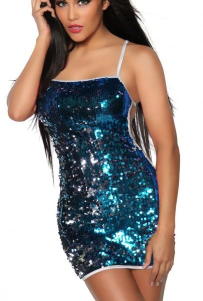 Kurzes glänzendes Pailletten-Kleid Damen blau-silber one size Oberteil Kleid Dress Rückenfrei mit Tr
