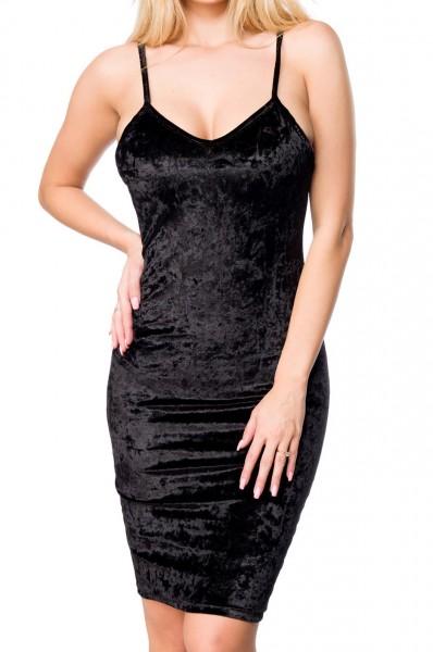 Damen Samt Kleid mit tiefem Ausschnitt Rückenfrei und schmalen Trägern V-Ausschnitt