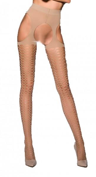 Beige Damen Dessous ouvert Netz Strumpfhose elastisch transparent im Schritt offen mit Straps Schnit