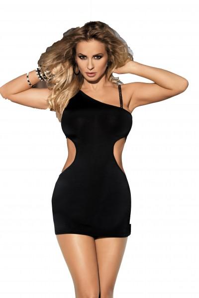 Schwarzes Minikleid mit Cutouts und einem Träger asymmetrisches Kleid