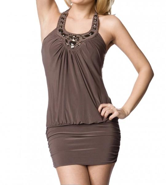 Braunes Jersey Kleid mit Schmucksteinen aus weichem Material Damen Neckholder Sommerkleid S/M