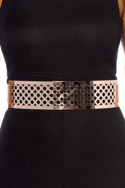 Damen Gürtel breit aus Metall mit Löchern in Platin Farbe Metallgürtel mit Gürtelband