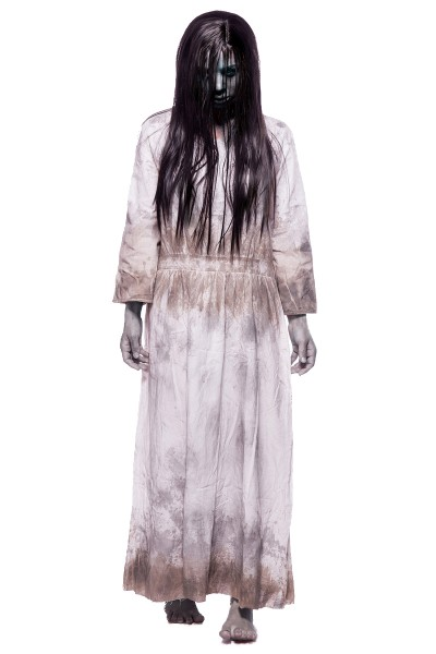 Damen Geister Zombie Kostüm Leiche Verkleidung aus Kleid, locker geschnitten und Perücke in weiß gra