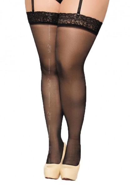 Schwarze Damen Dessous Plus Size Strümpfe Stockings für Strumpfhalter XXL transparent mit Spitze