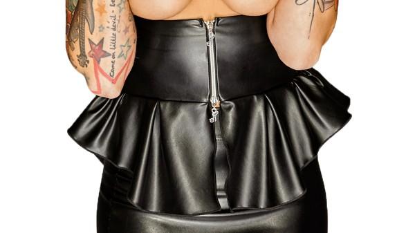 Schwarzes fetisch Damen Top in schwarz brustfrei aus Kunstleder mit Reißverschluss