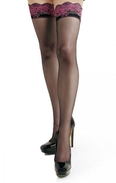 Damen Dessous halterlose Strümpfe in schwarz Stockings mit Silikonstreifen und rosa Spitze 20 den
