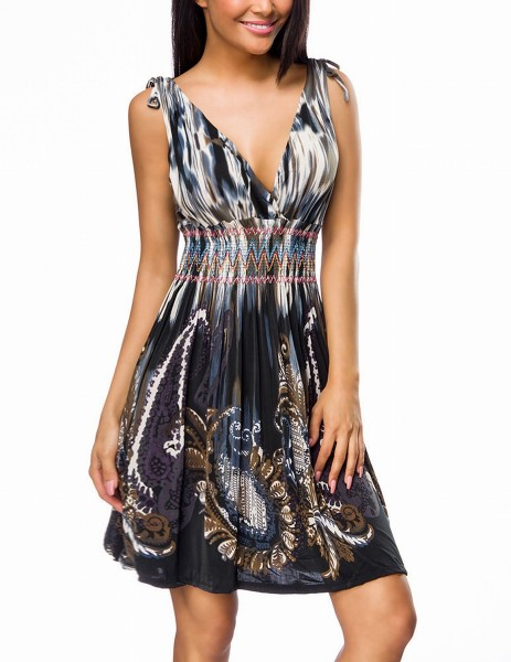 Schwarz blaues Damen Sommerkleid mit V-Ausschnitt vorn und hinten im Paisley Aquarelldruck