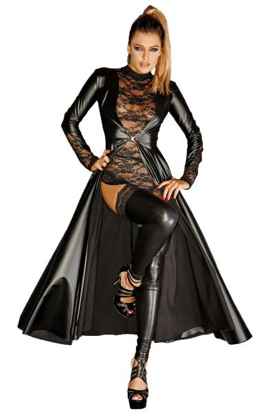 Damen wetlook gothic Mantel in schwarz dehnbar mit Spitze Leder-Imitat lang