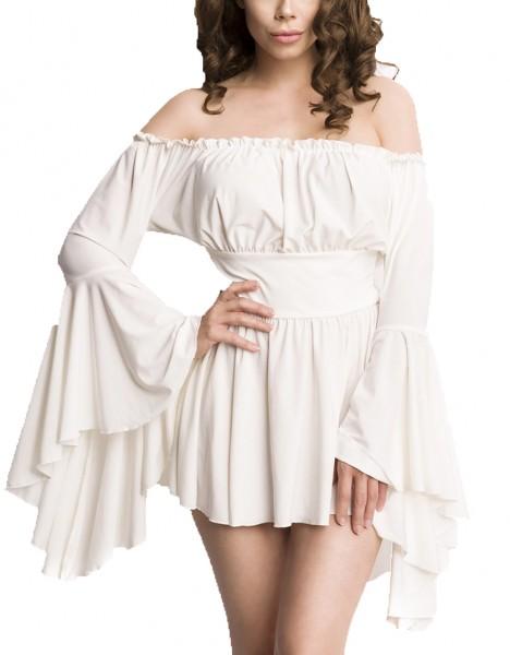 Weiße Tunika Kleid aus Jersey mit Trompetenärmeln und Carmenausschnitt Spitzenbesatz Mittelalteroutf