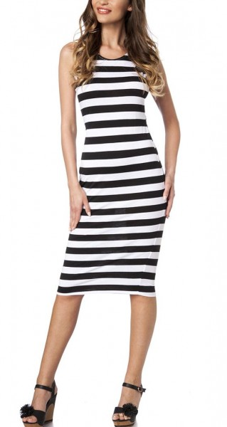 Schwarz weißes Träger-Kleid mit Streifen Muster hochgeschlossen mit weit ausgeschnittener Rückenpart
