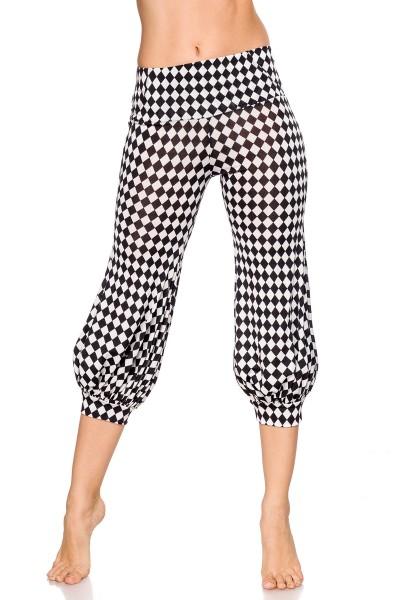 Damen Hose mit weiten Beinen und Falten schwarz weiße karierte Pants ausgestellt Knickers Pants