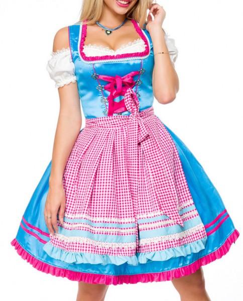 Dirndl Kleid Kostüm mit Herzausschnitt Schleife Schnürung und Schürze aus kariertem Stoff und Spitze