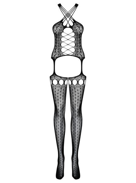 Erotischer transparenter Damen Dessous Bodystocking in schwarz elastisch Body mit Top und Strümpfe