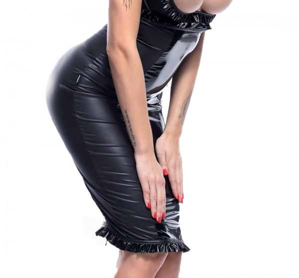 Damen Dessous fetisch Gogo Set aus Hebe BH brustfrei und Rock knielang in wetlook schwarz