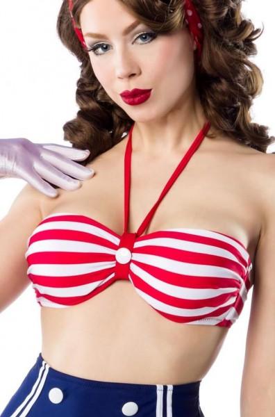 Gestreiftes Retro Vintage Damen Bikinioberteil gepaddet rot blau weiß mit Knopf zum binden Neckholde