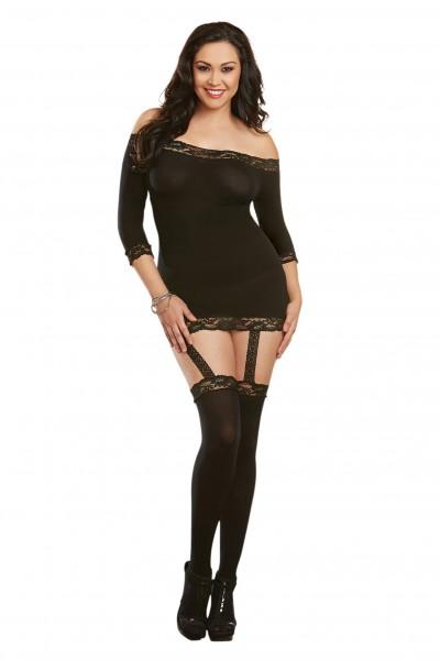 Dessous Bodysuit Damen Spitzen-Body mit Strapshalter und Strümpfen schwarz transparent
