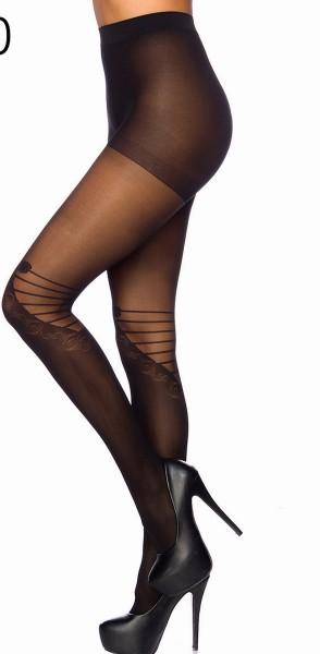 Schwarze transparente Damen Strumpfhose mit Schliefen Muster und Kontrast im 10er Pack