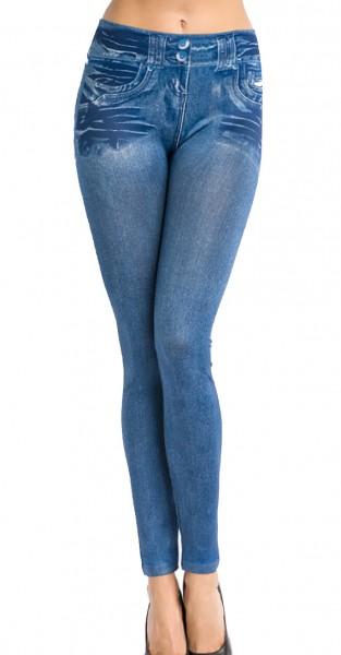 Blaue Jeans Leggings mit Flicken und Ziersteppungen Print und Waschung Design Taschen Druck elastisc
