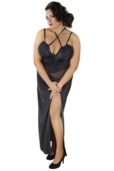 Schwarzes langes Dessous Kleid dehnbar mit Schlitz Damen Chemise Nachtkleid XXL