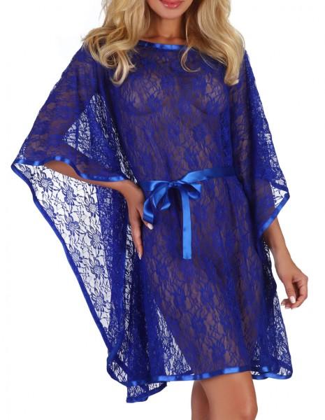 Damen Dessous Poncho Morgenmantel kurze Ärmel mit String in blau zum binden aus Satin und Spitze Kim