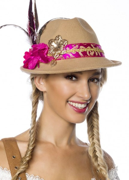 Beiger Damen Filzhut Trachtenhut mit Blumen und Federn Oktoberfest Verkleidung