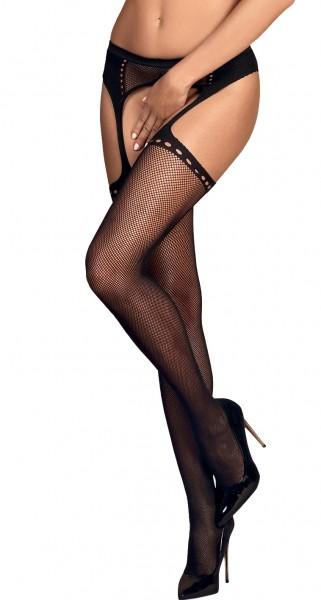 Erotische Stockings Frauen Dessous Strapsstrümpfe halterlos mit Strapsgürtel Garter Mesh Schwarz ouv