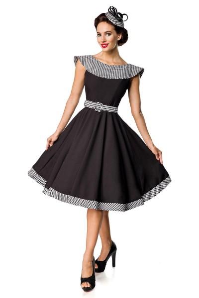 Retro Damen Swingkleid in schwarz mit weißen Hahnentrittmuster Vintagekleid mit ohne Ärmeln und groß