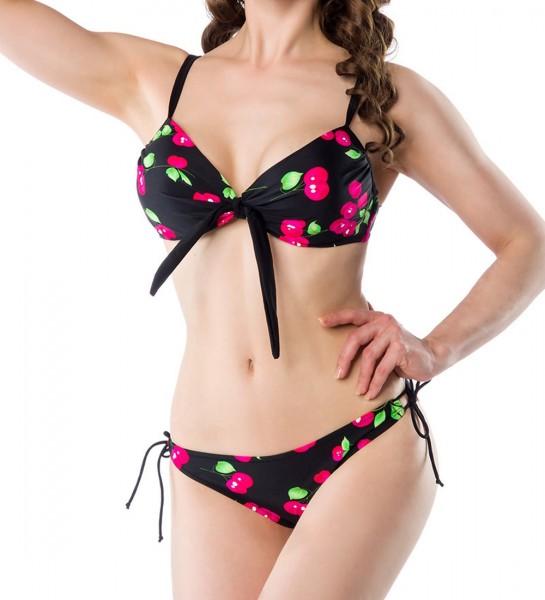 Vintage-Bikini-Set aus Rock, Oberteil und Höschen schwarz pink Damen retro Bademode zum binden