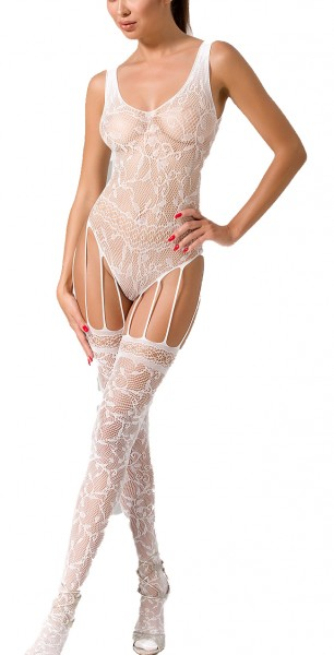 Weißer Damen Dessous Grobnetz Bodystocking Catsuit dehnbar aus Netz-Material transparent OneSize Blu