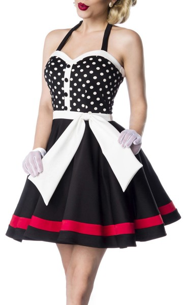 Schulterfreies Damen Neckholder Vintagekleid mit weiß schwarzen Streifen und schwarzen Knöpfen im He