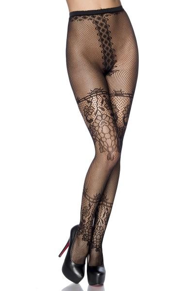 Lange schwarze Netzstrumpfhose mit Muster aus Spitze transparent