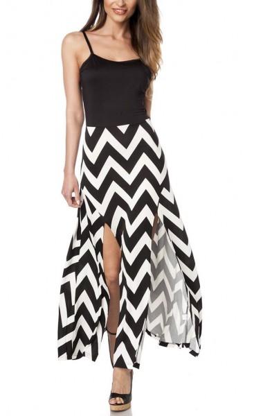 Maxikleid luftig Damen Sommerkleid in schwarz weiß mit Muster V-Design hochgeschlitzer Rock