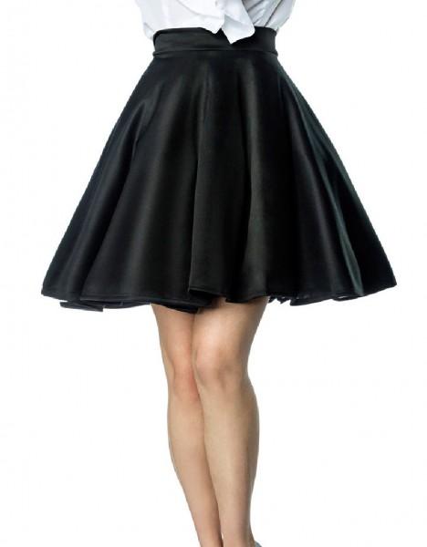 Schwingender Tellerrock mit angesetztem Bund und Reißverschluss hinten knielang Rockabilly Rock Dame