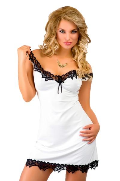 Damen Dessous Nachtkleid in ecru weiß Mini-Kleid blickdicht dehnbar mit schwarzer Spitze Sommerkleid