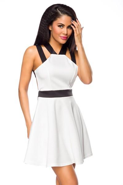 Kurzes Damen Retro Minikleid in schwarz weiß mit Träger Sommerkleid mit Reißverschluss und Rückenaus