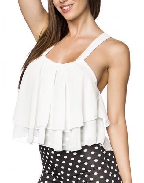 Kurzes weißes Sommertop mit Kreuzträger ohne Ärmel geschnitten Top mit Rückenausschnitt