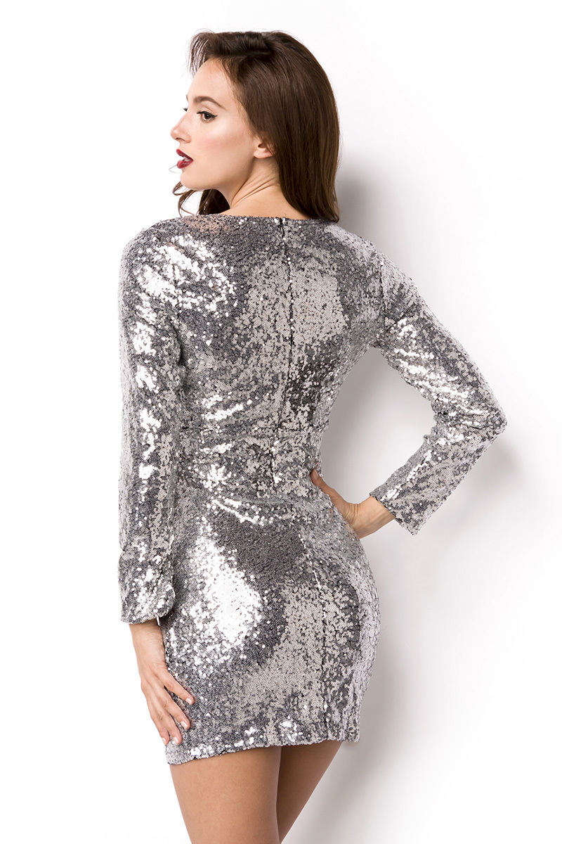 Kleid, Pailletten glänzend, V-Ausschnitt, lange Ärmel ...
