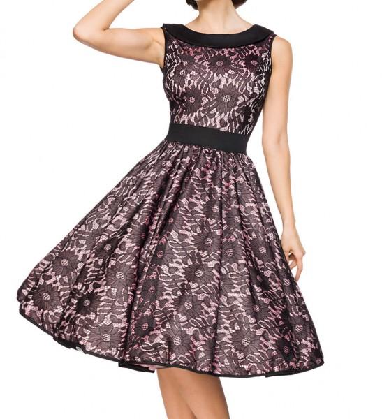 Knielanges Swing Kleid im High Waist Schnitt mit Spitze und Tellerrock rosa Blumenmuster und schulte