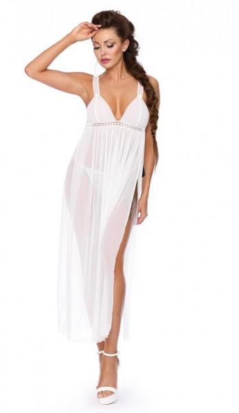 Langes Frauen Dessous Chemise Nachtkleid mit String in ecru weiß aus Tüll transparent dehnbar geschl