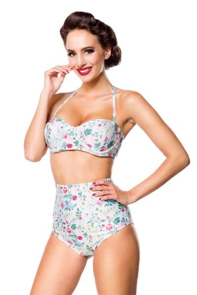 Elastischer Damen Bikini Träger Neckholder Top und Blätter Blüten Blumen Muster weiß bunt Push Up