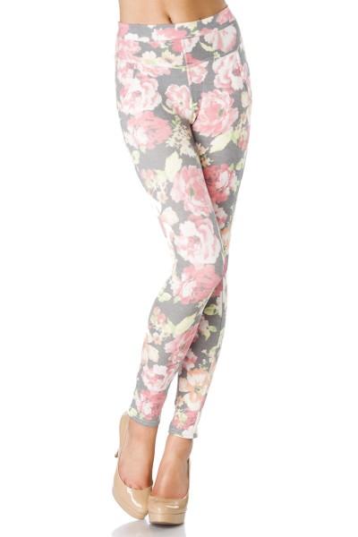 Helle blickdichte Damen Legging mit Blumenmuster und aufgesetzten Taschen Print Legging breiter Bund
