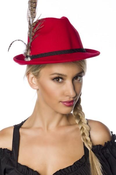 Roter Damen Filzhut Trachtenhut mit Kordel und Federn Oktoberfest Verkleidung