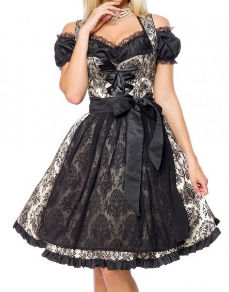 Dirndl Kleid Kostüm mit Rüschen und Schürze aus Brokat Stoff und Spitze Oktoberfest Dirndl gold/schw