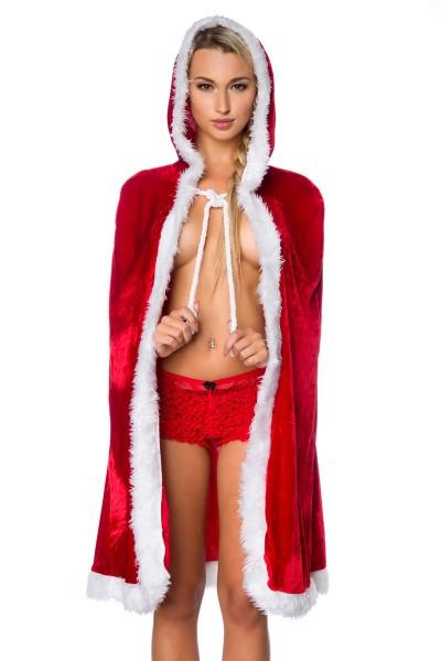 Damen sexy rotes Weihnachtsmann-Kostüm Umhang mit langem Mantel Cape Roleplay Verkleidung