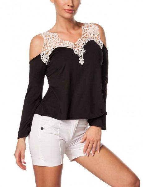 Schwarzes schulterfreies Damen Langarmshirt mit Spitzeneinsatz und langen Ärmeln