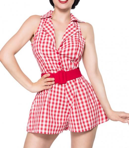 Schulterfreies Jumpsuit zum knöpfen ohne Ärmeln und mit Reverskragen weiß kariert Retro-Kleid mit Kn