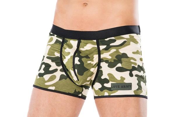 Herren Dessous Boxershort grün weiß aus Baumwolle mit Armee-Muster Männer Unterwäsche