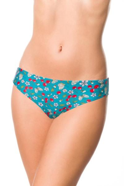 Elastisches Damen Bikiniunterteil Höschen Panty Beinausschnitt und Kirschen Blüten Bienen Muster grü