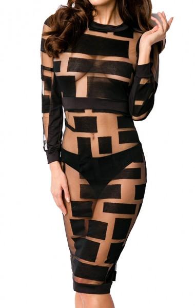 Schwarzes teiltransparentes Kleid mit schwarzen Flecken lange Ärmeln und hochgeschlossen