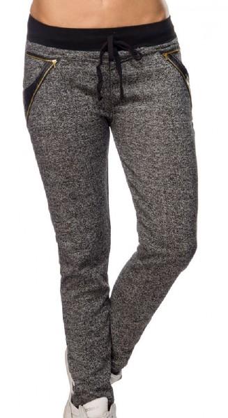 Graue Damen Jogginghose mit schwarzen Einsätzen und Reißverschlüssen Tunnelzug aus Baumwolle